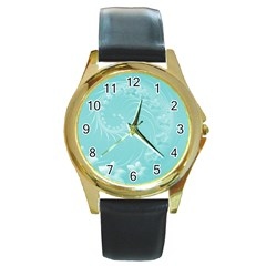 Cyan Abstract Flowers Round Metal Watch (gold Rim)