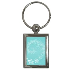 Cyan Abstract Flowers Key Chain (rectangle)