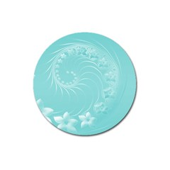Cyan Abstract Flowers Magnet 3  (round)