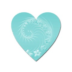 Cyan Abstract Flowers Magnet (heart)