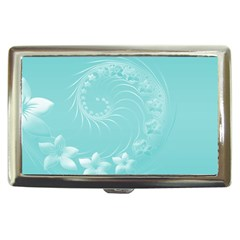 Cyan Abstract Flowers Cigarette Money Case