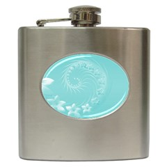 Cyan Abstract Flowers Hip Flask