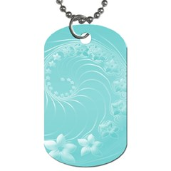 Cyan Abstract Flowers Dog Tag (Two Sided)