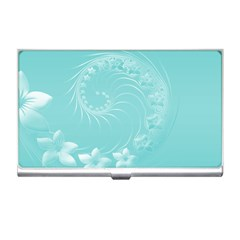 Cyan Abstract Flowers Business Card Holder
