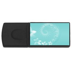 Cyan Abstract Flowers 2GB USB Flash Drive (Rectangle)