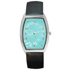 Cyan Abstract Flowers Tonneau Leather Watch