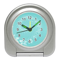 Cyan Abstract Flowers Desk Alarm Clock