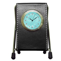 Cyan Abstract Flowers Stationery Holder Clock