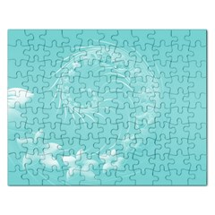 Cyan Abstract Flowers Jigsaw Puzzle (Rectangle)
