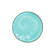 Cyan Abstract Flowers Golf Ball Marker (for Hat Clip)