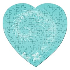 Cyan Abstract Flowers Jigsaw Puzzle (heart)