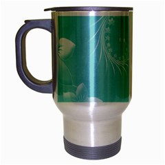 Cyan Abstract Flowers Travel Mug (Silver Gray)