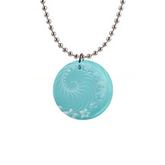 Cyan Abstract Flowers Button Necklace