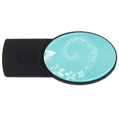 Cyan Abstract Flowers 4GB USB Flash Drive (Oval)