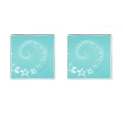 Cyan Abstract Flowers Cufflinks (Square)