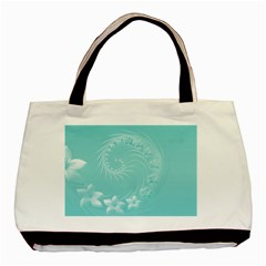 Cyan Abstract Flowers Classic Tote Bag