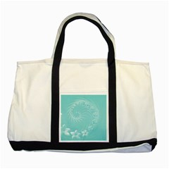 Cyan Abstract Flowers Two Toned Tote Bag