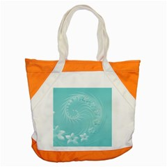 Cyan Abstract Flowers Accent Tote Bag