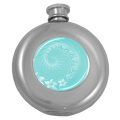 Cyan Abstract Flowers Hip Flask (Round)