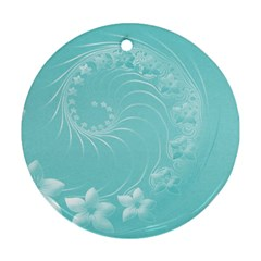 Cyan Abstract Flowers Round Ornament (Two Sides)