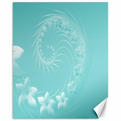 Cyan Abstract Flowers Canvas 16  X 20  (unframed)