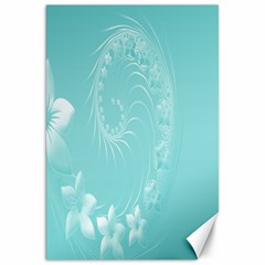 Cyan Abstract Flowers Canvas 20  x 30  (Unframed)