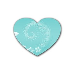 Cyan Abstract Flowers Drink Coasters 4 Pack (Heart)