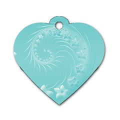 Cyan Abstract Flowers Dog Tag Heart (Two Sided)