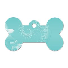 Cyan Abstract Flowers Dog Tag Bone (One Sided)