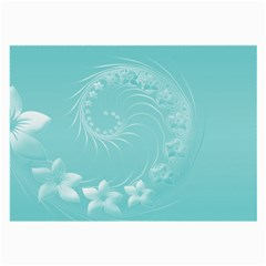 Cyan Abstract Flowers Glasses Cloth (Large, Two Sided)