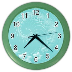 Cyan Abstract Flowers Wall Clock (Color)