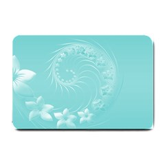 Cyan Abstract Flowers Small Door Mat