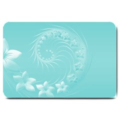 Cyan Abstract Flowers Large Door Mat