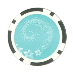Cyan Abstract Flowers Poker Chip