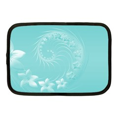 Cyan Abstract Flowers Netbook Case (Medium)