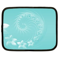Cyan Abstract Flowers Netbook Case (large)