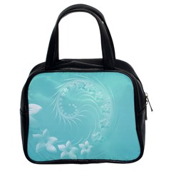 Cyan Abstract Flowers Classic Handbag (Two Sides)