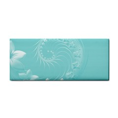 Cyan Abstract Flowers Hand Towel