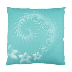 Cyan Abstract Flowers Cushion Case (one Side)