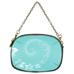 Cyan Abstract Flowers Chain Purse (two Side)