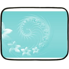 Cyan Abstract Flowers Mini Fleece Blanket (two Sided)