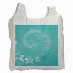 Cyan Abstract Flowers Recycle Bag (One Side)