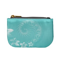 Cyan Abstract Flowers Coin Change Purse