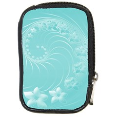 Cyan Abstract Flowers Compact Camera Leather Case