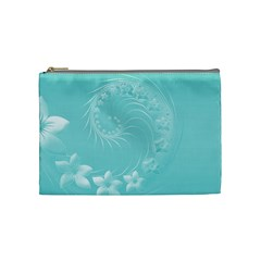 Cyan Abstract Flowers Cosmetic Bag (Medium)