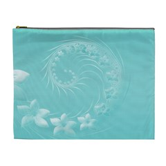 Cyan Abstract Flowers Cosmetic Bag (XL)