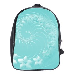 Cyan Abstract Flowers School Bag (large)