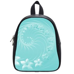 Cyan Abstract Flowers School Bag (Small)