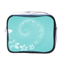 Cyan Abstract Flowers Mini Travel Toiletry Bag (one Side)
