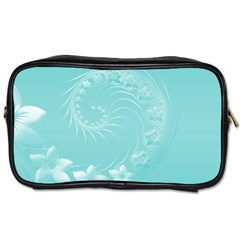 Cyan Abstract Flowers Travel Toiletry Bag (Two Sides)